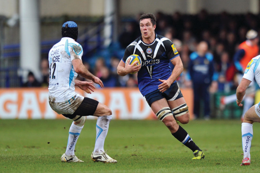 Francois Louw faces off against Jon Clarke. Aviva Premiership match, between Bath Rugby and Worcester Warriors on February 9, 2013 at the Recreation Ground in Bath, England. Photo by: Patrick Khachfe / Onside Images