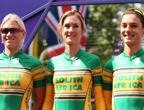 LONDON, ENGLAND - JULY 29:  (L-R) Robyn de Groot, Joanna van de Winkel and Ashleigh Moolman of South Africa look on ahead of the Women's Road Race Road Cycling on day two of the London 2012 Olympic Games on July 29, 2012 in London, England  (Photo by Bryn Lennon/Getty Images)