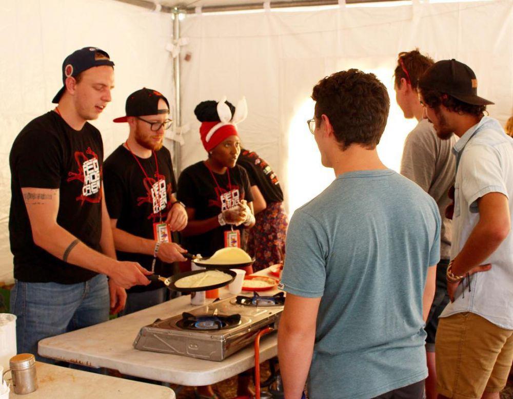 red frogs guys pancake cooking