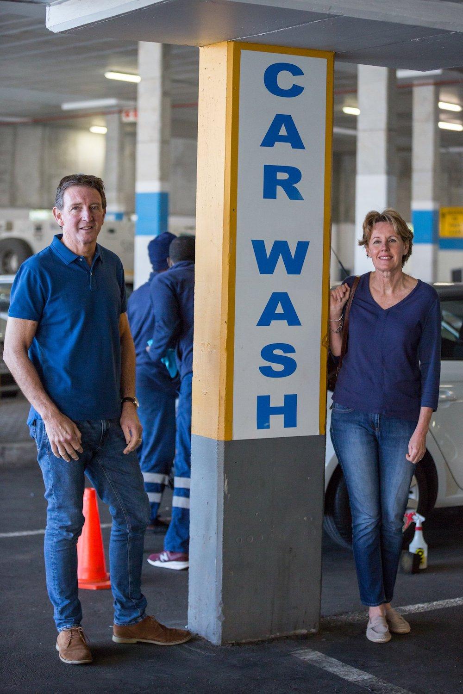 couple at car wash
